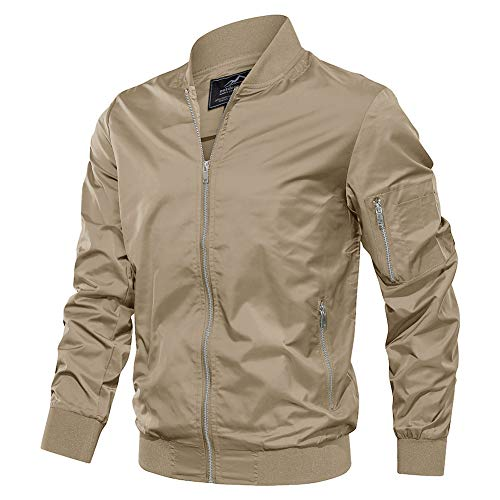 TACVASEN Men's Jacket-Lightweight Spring Fall Outdoor Flight Bomber Coat, Khaki M