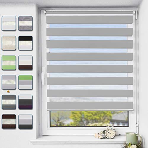 Buseu Doppelrollo klemmfix ohne Bohren Duo Rollo für Fenster,lichtdurchlässig und verdunkelnd Innenrollo Hellgrau 100x120cm(BxH)