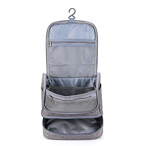 Men's Hanging Wash Bag  / Shaving Bag - Dry & Wet Separation - Grey