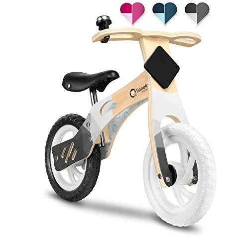 Lionelo Willy Laufrad Holz Laufrad ab 2 Jahre bis zu 25 kg Verstellbarer Sattel 12 Räder Lenkschloss Klingel Schild mit Kreide zum Dekorieren Ultra Leicht (Schwarz)