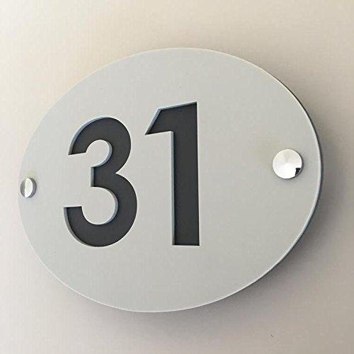ServeWell Ovale numero civico–grigio chiaro e grafite finitura opaca