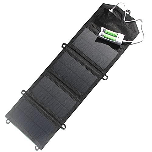 EastMetal Caricabatterie Pieghevole Pannello Solare 7,2W, Caricabatteria da Esterno a Energia Solare con 4 Pannelli Solari, Power Bank Portatile Waterproof con Porta USB, per Fan, Batteria AA/AAA