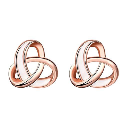 Vi.yo 1 Para Hand Polieren Verknoten Liebe Herzform Ohrstecker Rose Gold Silber Kleine Ohrringe Anzug für Frauen Mädchen - 11mm * 11mm