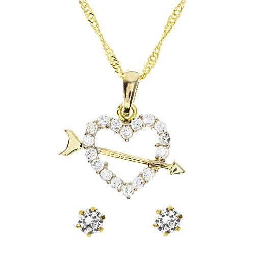 Córdoba Jewels | Conjunto de Gargantilla y Pendientes en Plata de Ley 925 bañada en Oro. Diseño Cúpido Zirconium Oro