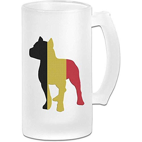Patriottische Pitbull België Vlag Frosted Glass Stein Beer Mok, Pub Mok, Drank Mok, Cadeau voor Bier Drinker, 500Ml (16.9Oz)