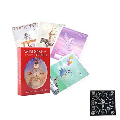 Sabiduría Oracle Tarjetas Tablero Tablero Deck Games Tarot Cards Divination Fate Tarjeta de Juego Familia Familia Regalo,with Tablecloth,Standard