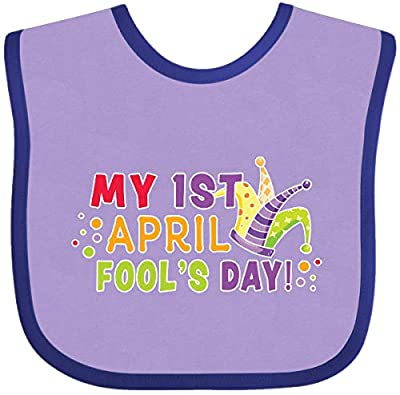 Inktastic My 1st April Fools Day with Jester Hat Baby Bib Lavender and Purple