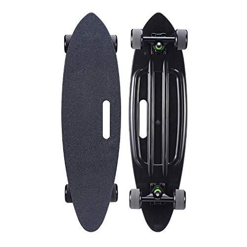 SXQ Skateboard 24 Zoll Komplette Mini Cruiser Retro Longboard, Plastik Deck PU Räder, ABEC-11 Lager für Erwachsene Teenager und Kinder Anfänger,Schwarz