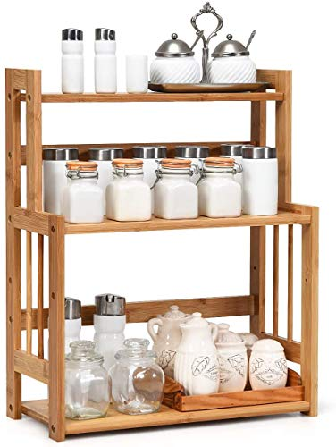 RELAX4LIFE 3-stufiges Gewürzregal, Küchenregal aus Bambus, Gewürzständer mit höhenverstellbarer...
