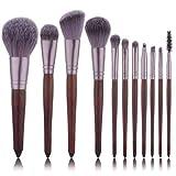 LinZX 11pcs Sistema de Cepillo, un Conjunto de cepillos del Maquillaje,Brown