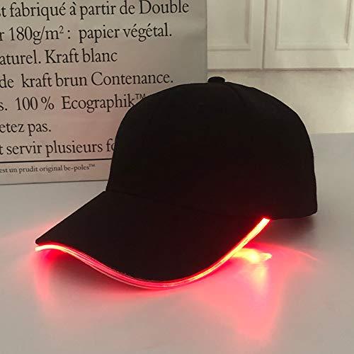 WQM Sombrero de béisbol Moda Caliente Unisex Color sólido led Luminoso béisbol Sombrero Navidad Fiesta Pico Gorra Mujeres Hombres béisbol Gorra Sombrero (Red Light)