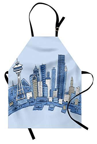 Ambesonne Seattle Skyline Apron, Doodle Urban Setting in Washington Blue Toned Illustration, Unisex Kitchen Bib with Adjustable Neck for Cooking Gardening, Adult Size, Azure Blue and Pale Blue