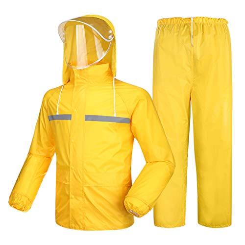 Réutilisable Costume de pluie imperméable Split Haut réfléchissant + Pantalon imperméable équitation en Plein Air Double épaisseur épais Hommes et Femmes adultes vêtements de pluie