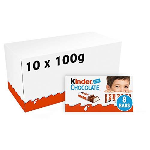 Ferrero kinder barrette di cioccolato al latte 10 confezioni 1kg da 8 barrette ciascuna 100 grammi (1000042179)