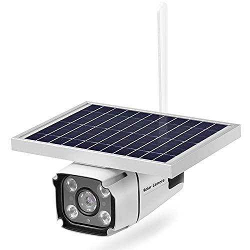WLALLSS Cámara IP Solar 1080P, cámara de vigilancia de Seguridad Impermeable para Exteriores, cámara de Bala de energía Solar infrarroja, cámara 4G sin Tarjeta