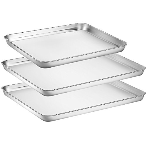 Baking Sheets Set of 3, HKJ Chef Baking Pans 3 Pieces & Stainless Steel Cookie Sheets & Toaster Oven Tray Pans, Non Toxic & Healthy, Mirror & Easy Clean & Dishwasher Safe