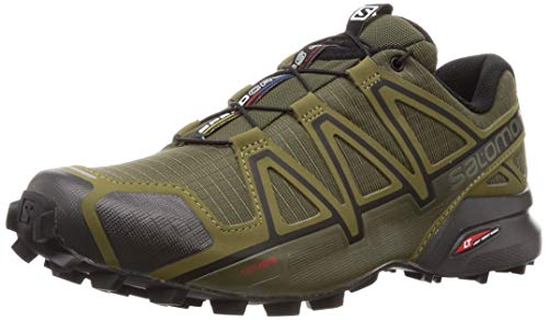 Salomon Herren Speedcross 4 Wide, Trailrunning-Schuhe, grün (grape leaf/burnt olive/black) Größe 42 2/3