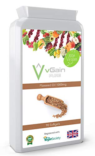 Flaxseed Oil 1000mg Capsules by vGain PURE - Certified Vegan by the Vegan Society - Essential Omega 3 Fatty Acids - Including Alpha Linolenic Acid For A Healthy Heart & Immune System - For Men & Women