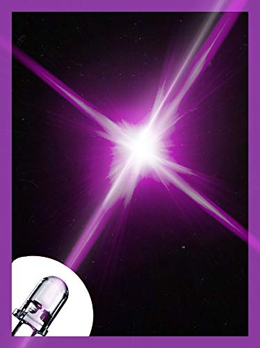 LED 5mm Farbe Leuchtdiode extra hell 3V Diode 2 Pin LEDs+ 12V Widerstände 470 Ohm (UV Lila, 5 mm - 50 Stück)