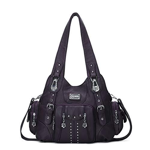 KL928 Damen Tasche Handtasche Schultertasche Umhängetaschen leder Damenhandtasche Henkeltaschen Lederhandtasche Rucksack vintage taschen für Damen (XS160199-purple)