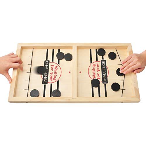MOMSIV Schnelles Fast Sling Puck-Spiel, Lustiges hölzernes Sling Puck-Gewinner-Brettspiel...