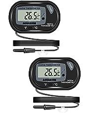 Thlevel 2 Piezas Termómetro Digital LCD con Exterior Sonda y Ventosa para Acuario, Pecera, Terrarios, Pecera y Recipiente de Vidrio -50/70 °C (2PCS)