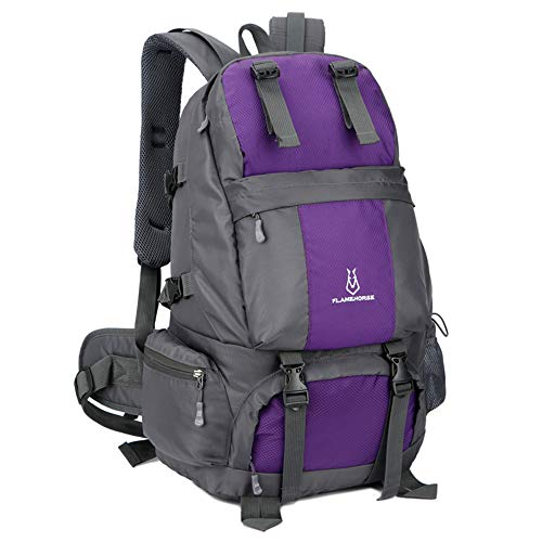 Lixada hiking backpack 50L waterproof trekking backpacks with shoe compartment for climbing camping mountaineering purple