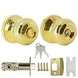 Probrico Brass Entrance Door Lock with Key Stainless Steel Gold Exterior Door Knob with Lock Sets Round Door Handle for Front Door