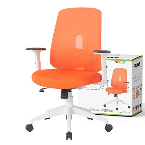 NOUHAUS Palette Ergonomic Office Chair Comfortable Swivel Computer Desk Chair, Lumbar Adjust Rolling Chair. (Bright Orange)