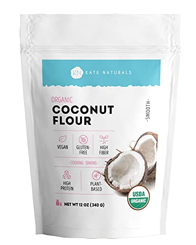 Organic Coconut Flour by Kate Naturals. Pure, Vegan & Gluten-Free Flour High in Protein & Fiber. Wheat-Free Flour Alternative for Baking & Cooking. Resealable Bag. 12 oz.