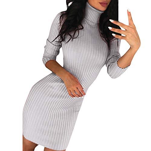 iHENGH Damen Herbst Winter Bequem Lässig Mode Frauen Casual Langarm Pullover Rollkragenpullover Kleid(Grau, M)