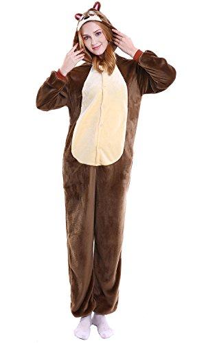 YAOMEI Adulto Unisexo Onesies Kigurumi Pijamas, Mujer Hombres Traje Disfraz Animal Pyjamas, Ropa de Dormir Halloween Cosplay Navidad Animales de Vestuario (M, Ardilla listada)