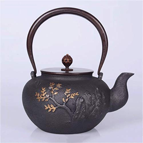Tea Pot, Cast Iron Small Tea Kettle, Japanese Vintage 1.2 Litre Tea Maker for Loose Leaf Tea, for Party Home Office Restaurants