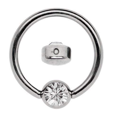 Titan Ring in 1,6 x 6 mm als Lippenbändchen Piercing mit flachem Stein in 4 mm Ø, klar