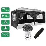 Bunao Pavillon 3mx6m, Tente de pavillon Pliable imperméable à l'eau, Tente de pavillon Pliante avec 4 côtés pour...