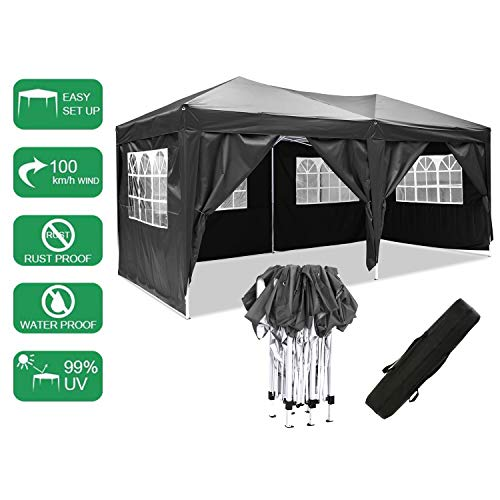 Laiozyen 3 x 6 m Waterproof Pop Up Gazebo Marquee Water Resistant Tent with Side Panels & Storage Bag for Outdoor Wedding Garden Party (Black)