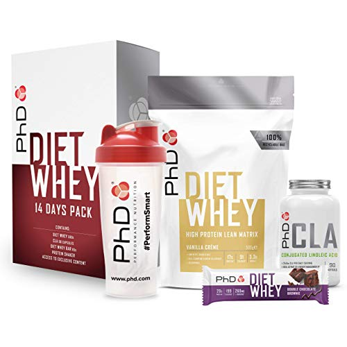 PhD Diet Whey, High protein, all in one Weight loss support starter set, including Fat loss support capsules and exclusive online fitness access (14 day set)