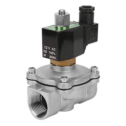 KANJJ-YU Válvula solenoide, G1' normalmente abierta válvula solenoide eléctrica del acero inoxidable para la válvula del aire del agua (DC12V)