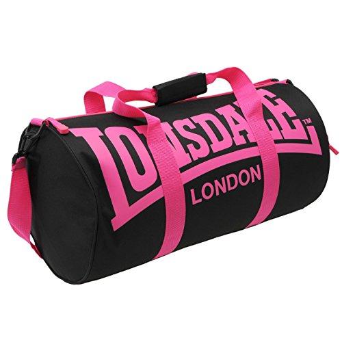 Lonsdale – Borsone tubolare da palestra e fitness Nero Black/pink taglia unica