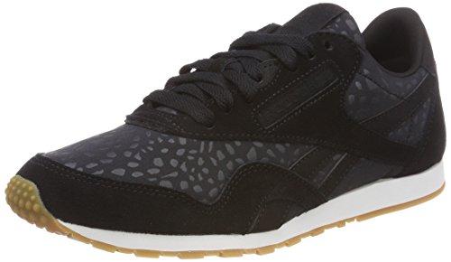 Reebok Damen Classic Nylon Slim Text Lux Sneaker, Schwarz (Black/White/Gum), 39 EU