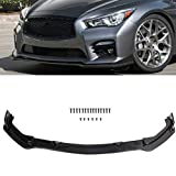 ECCPP 3pcs Front Bumper Lip Splitter fit for compatible with 2014-2017 for INFINITI Q50 Glossy Black Trim Protection Splitter Spoiler