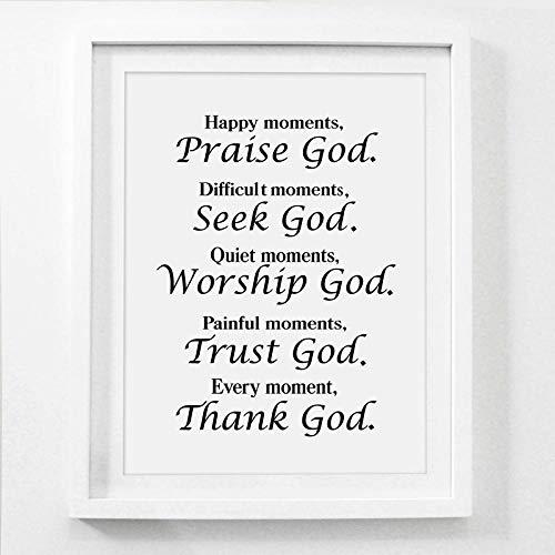 Christian Canvas schilderij Poster bijbel vers citaat Home Decor, elk moment God zij dank religieuze citaat Poster woonkamer-40x60cm geen frame