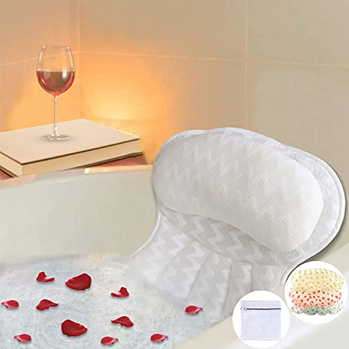 Bath Pillow, Luxury Bathtub Pillow, Ergonomic Spa Bath Pillows for tub with 4D Mesh Technology and 6 Suction Cups,Tub Pillow with Neck, Head, Shoulder and Back Support, Fits All Bathtub,Home Spa