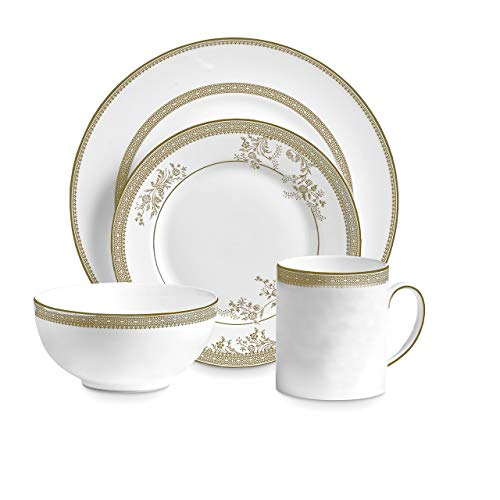 Wedgwood 40030695 Vera Lace Gold 4, 4 Piece Set, White