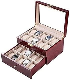 Caja Reloj Caja Reloj Madera 20 Ranuras Caja Regalo Almacenamiento Dos Capas Moda, Forro Flocado Suave Interior