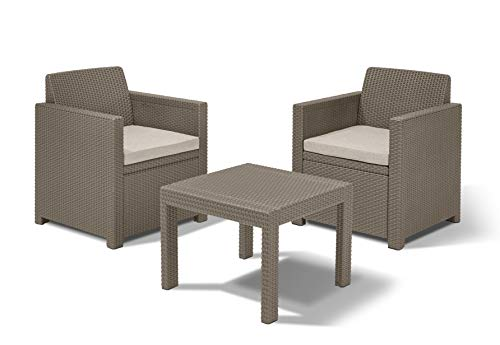 Allibert Allegro Balcony Balkon Set, Cappuccino/Sand (Poly Cotton Kissen)