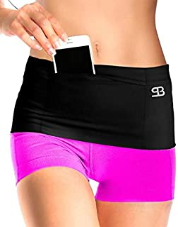 Unisex Travel Money Belt, Running Belt, Fanny and Waist Pack, 4 Large Security Pockets and Zipper, Fits Phones Passport and More, Extra Wide Spandex, USA Made