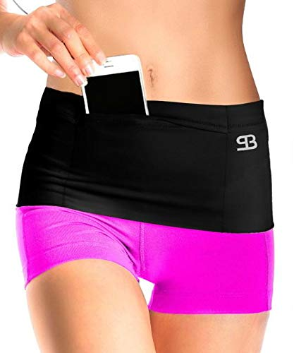 Stashbandz Unisex Travel Money Belt, Running Belt, Fanny and Waist Pack, 4 Large Security Pockets - One Pocket with Zipper, Fits Phones Passport and More, Extra Wide Spandex, USA Made