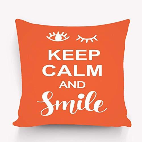 N / A Madagascar Throw Pillow Case Funda de cojín Moda para el hogar Funda de Almohada Decorativa Regalo Twin Lados Keep Calm Smile Tipografía Positiva Keep Calm Smile