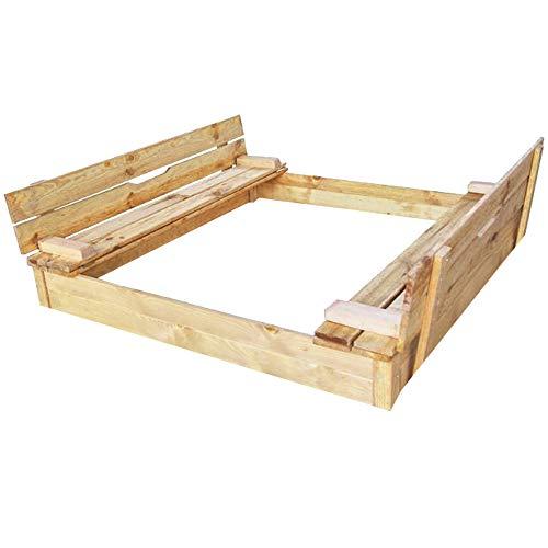 RM E-Commerce Bac à sable avec couvercle rabattable, Sablière carré en bois, Table de sable avec banc 115x115cm 220l